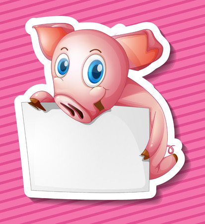 Illustration of a pig holding a sign Vector