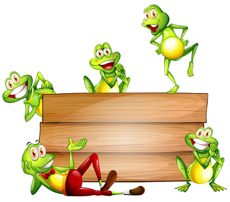 Illustration of many frogs with a sign