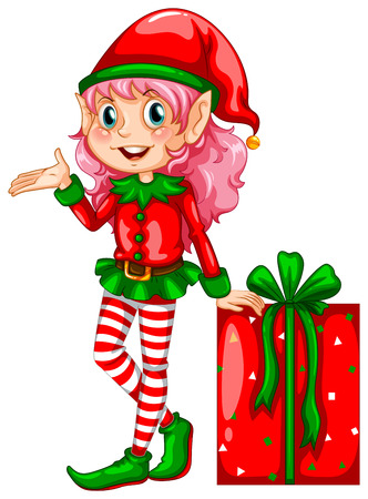 illustration of an elf and a gift Vector