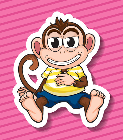 scratching: Illustration of a monkey with background