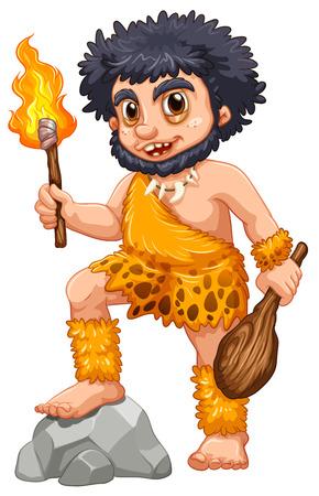 Illustration d'un homme des cavernes avec le feu Vecteurs