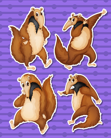 Illustration of a set of anteaters Vector