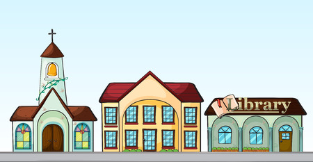 Illustration of many buildings on street Vector
