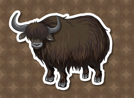 conserved: Illustration of a black bull with background