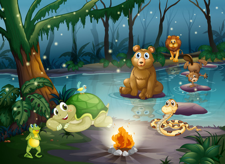 fireflies: Illustration of many animals around a campfire