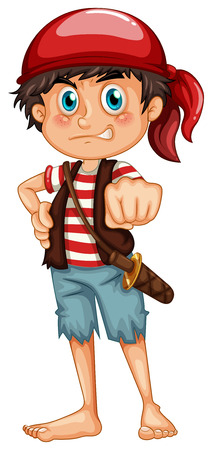 pirate crew: Illustration of a single pirate with a sword