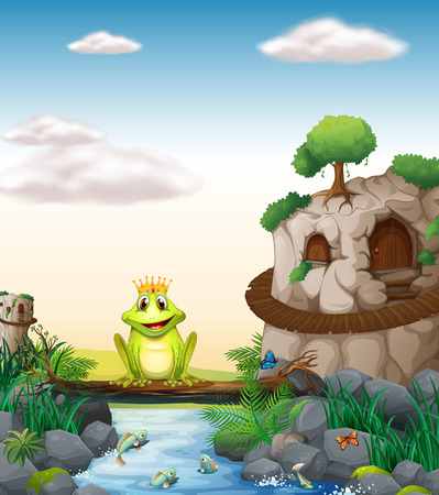 sapo principe: Ilustraci�n de una rana que se sienta en un tronco Vectores