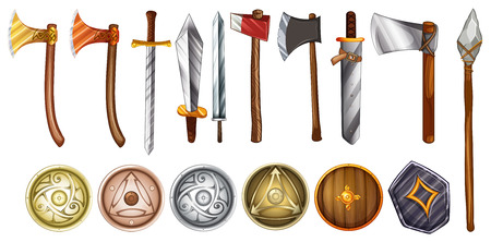 Illustration of a set of weapons and shields Vector