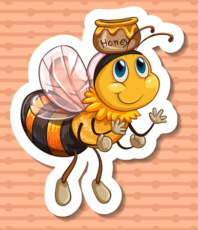Illustration of a bee and a honey jar Vector