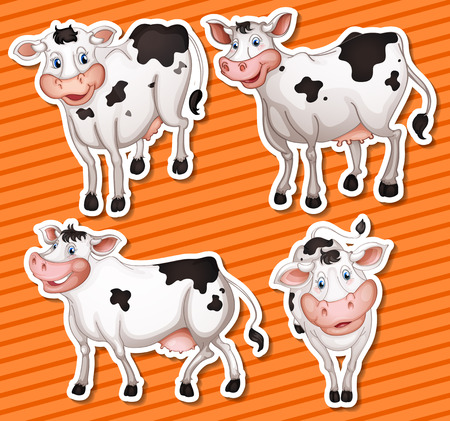 Illustration of many cows with background Vector