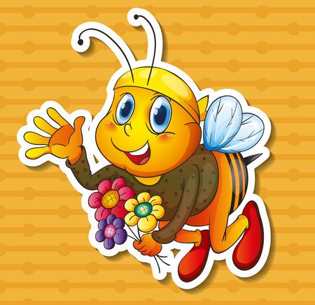 abeja reina: Ilustración de un vuelo de la abeja con las flores Vectores