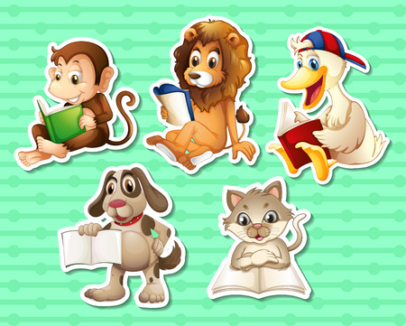 Illustration of many animals reading books Vector