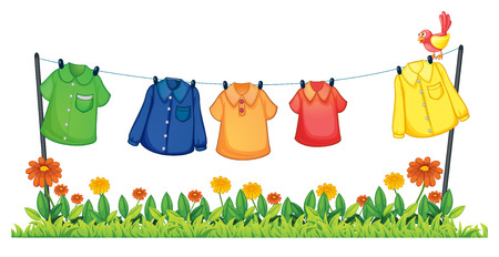 Illustration of many shirts hanging on a line