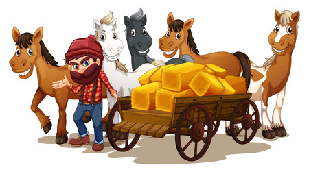 horse and carriage: Illustration of a farmer and horses