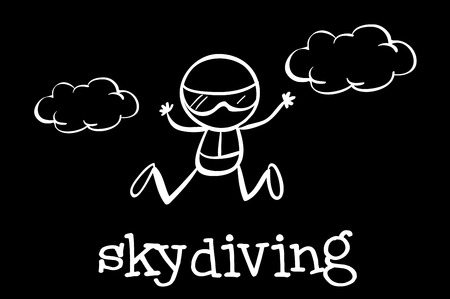 skydiving: Illustration of a doodle of skydiving