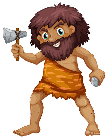 strong man: Illustration of a single caveman with weapons Illustration