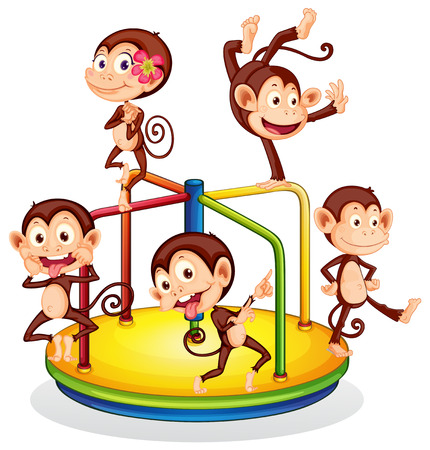 Illustration of monkeys playing with a roundabout Vector