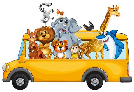Illustration de nombreux animaux à cheval sur un bus Banque d'images - 32133220