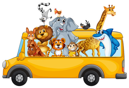 Illustration of many animals riding on a bus Vector