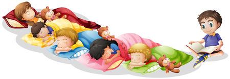 Illustration of children taking a nap Vector