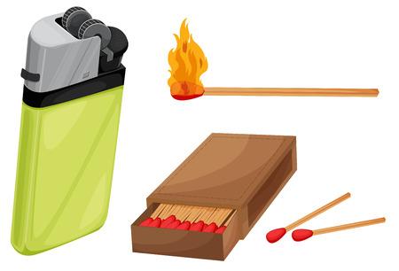 lighter: Illustration of matches and lighter