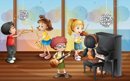 Ilustración de niños jugando instrumento musical Vectores