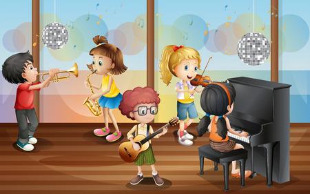 violines: Ilustración de niños jugando instrumento musical Vectores