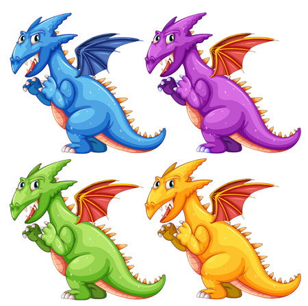 Illustration of different color dragons Vector
