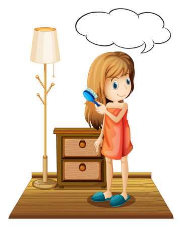 combing hair: Illustration of a girl combing hair in a room Illustration