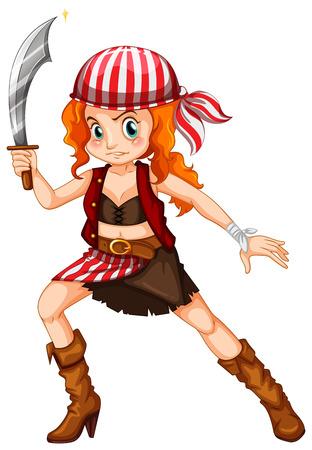 mujer pirata: Ilustración de un primer plano pirata