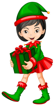 Illustration of a female elf with a present Vector