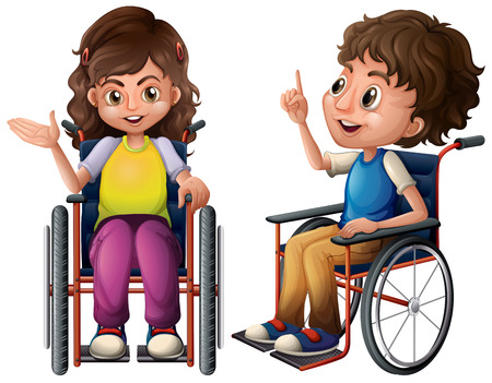 persona en silla de ruedas: Ilustración de un niño y una niña en silla de ruedas