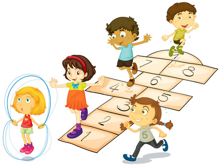 Illustration of many children playing hopscotch