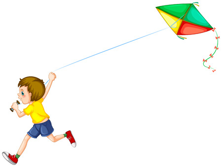 papalote: Ilustración de un niño jugando con una cometa