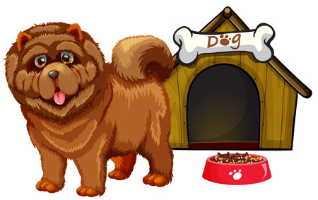 house drawing: Illustration of a dog with a dog house