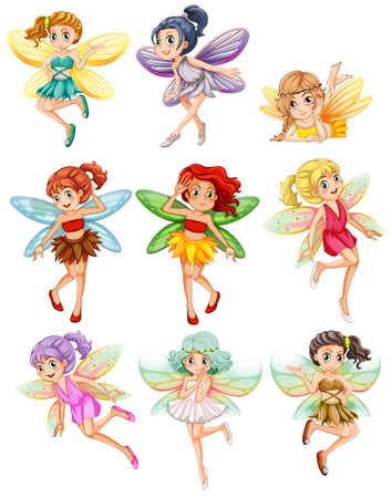 Illustration of many fairies flying Vector