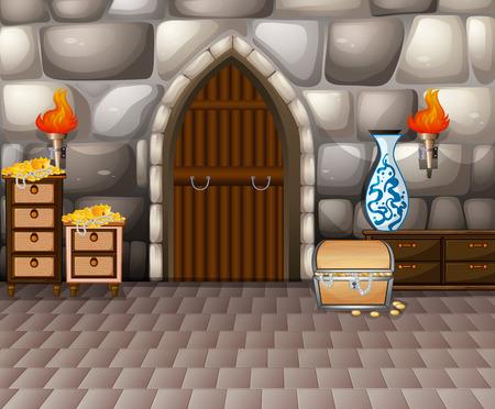 castillo medieval: Ilustración de una habitación llena de tesoros