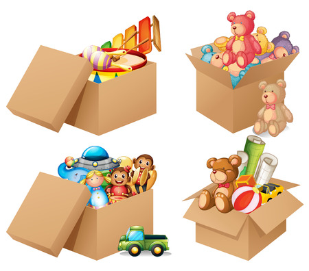 Illustration of four different box of toys