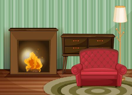 Illustratie van een woonkamer met open haard