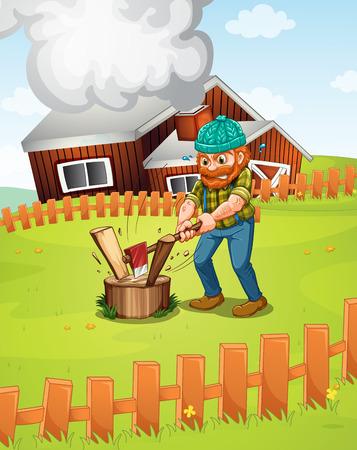 cutting grass: Illustration of a lumber jack chopping wood