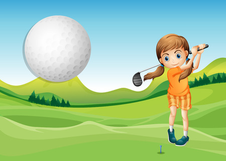 golf cartoon characters: Illustration of a girl playing golf in the court Illustration