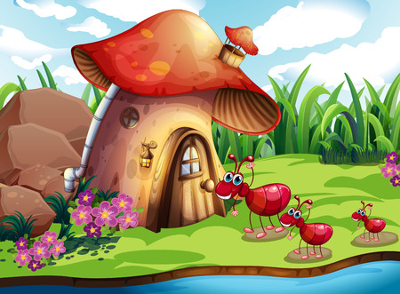 family outside house: Illustration of many ants and a mushroom house
