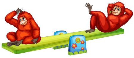 Illustration of orangutans playing Vector