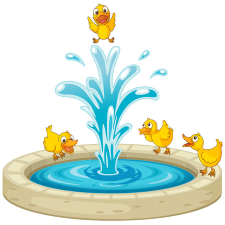 Illustration of ducks and fountain