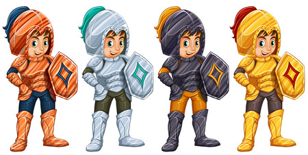 Illustration of many knights with shields Vector