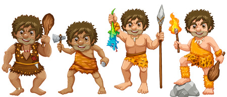 Illustration of many cavemen with weapons Vector