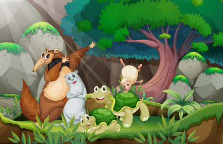 nutria caricatura: Ilustraci�n de muchos animlas en la selva