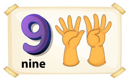 Illustration of a flashcard nuber nine