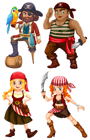 Illustration of many pirate with weapons Vector