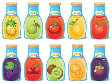 Ilustracja z wielu butelki soku